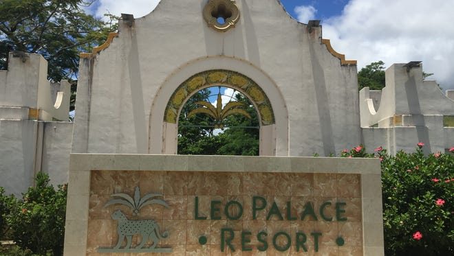 A sign at the entrance of the Leo Palace Resort in Yona, as photographed on Sept. 7.