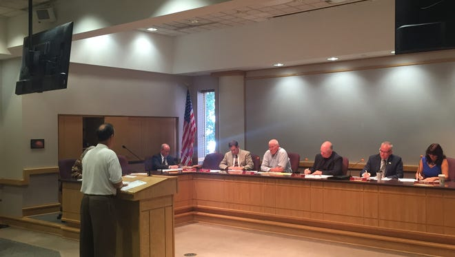 Mark Dutton speaks in opposition to the Human Relations Ordinance Amendment at the Tippecanoe County Board of Commissioners meeting on Sept. 6, 2016, in Lafayette.