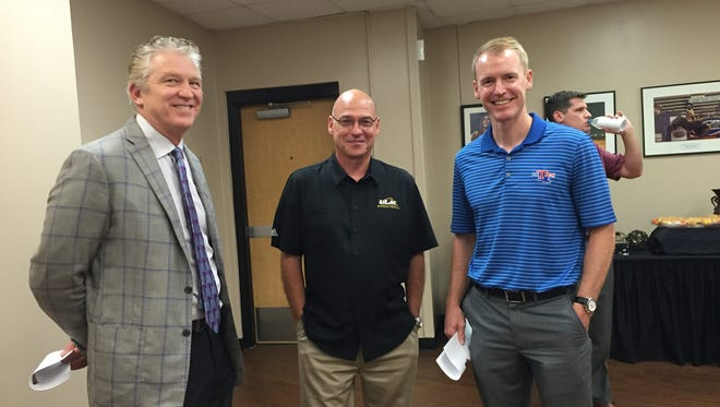 NSU coach Mike McConathy, ULM coach Keith Richard and La. Tech coach Eric Konkol spoke Tuesday at an event at the CenturyLink Center. McConathy played at Tech, Richard coached at Tech and Konkol is the current Bulldog boss.