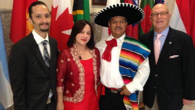 Zain Hakim (left), Dr. Sandra Dee, Eduardo Morales and Joel Newman pose during the Season of Unity press conference Tuesday.