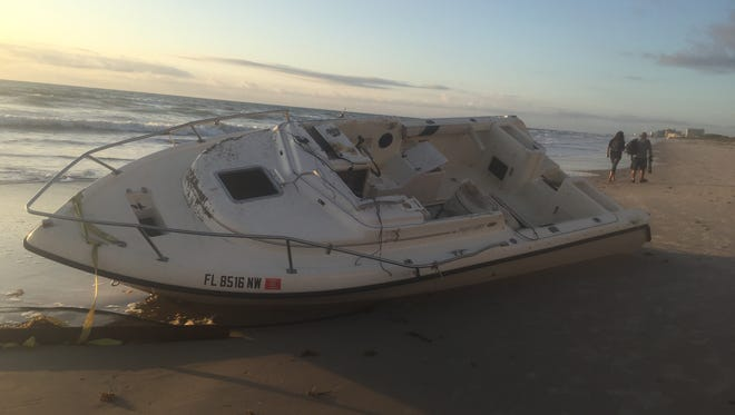 This 22-foot-long boat washed ashore this week in Satellite Beach.