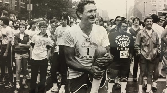 Al McGuire at the start of Al's Run, in the early 1980s.