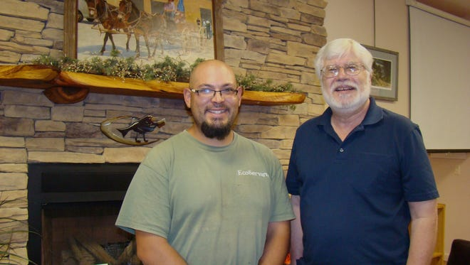 Historian and author, Dr. Richard Melzer and Nathan Chavez, EcoServant Team Superivisor are shown following Melzer's presentation regarding the Civilian Conservation Corp (CCC) and the effect it had on Lincoln County and New Mexico during the Great Depression.