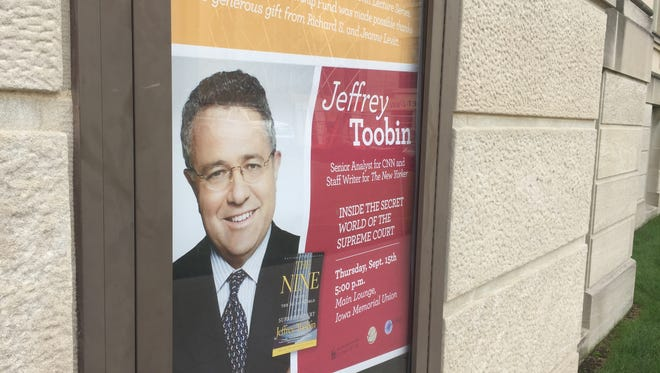 """Jeffrey Toobin, author and legal commentator, will deliver the University of Iowa College of Law's Fall 2016 Richard S. Levitt Distinguished Lecture. The lecture — titled, """"Inside the Secret World of the Supreme Court"""" — will begin at 5 p.m. Thursday in the Main Lounge of the Iowa Memorial Union."""
