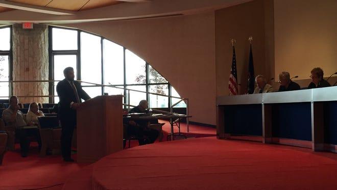 Dan Damman speaks on behalf of the Barcumes Wednesday morning.