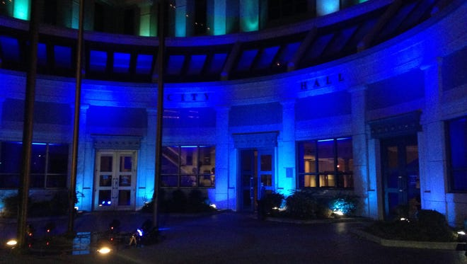 Jackson City Hall turned blue to support first responders during the filming of a Blue Strong video Wednesday night.