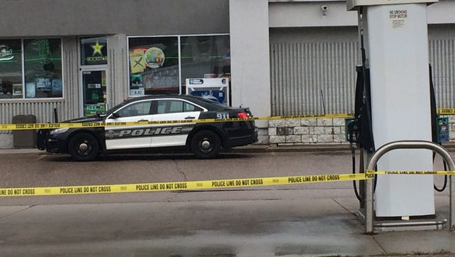 The BP at 3553 Eighth St. S., Wisconsin Rapids has yellow police tape around the pumps and was closed Friday.