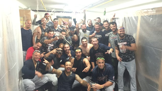 The Somerset Patriots celebrate clinching a playoff spot on Friday in New Britain, Conn.