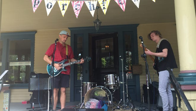 Former Rhinebeck residents Dave DeCotiis and Kenny Hauptman perform at Rhinebeck Porchfest in 2016.