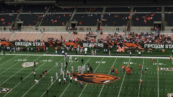 Oregon State and Idaho State in pregame warmups at Reser Stadium on Sept. 17, 2016.