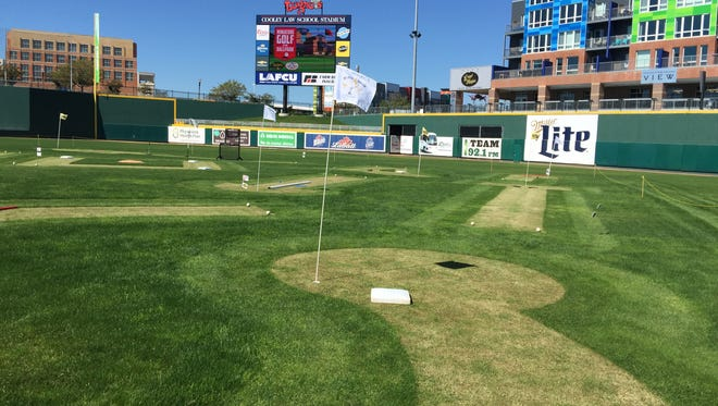 Cooley Law School Stadium has been transformed into a miniature golf course that will be open to the public this week.