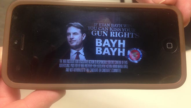 An ad paid for by the National Rifle Association's Institute for Legislative Action criticizes former Sen. Evan Bayh's record on gun rights.