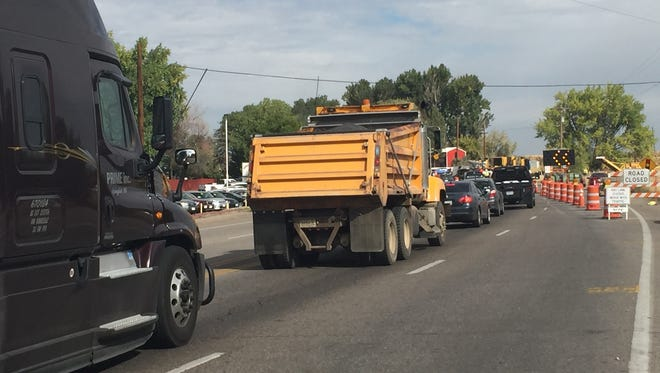 Traffic merges at U.S. Highway 287 and Colorado Highway 1 on Tuesday.