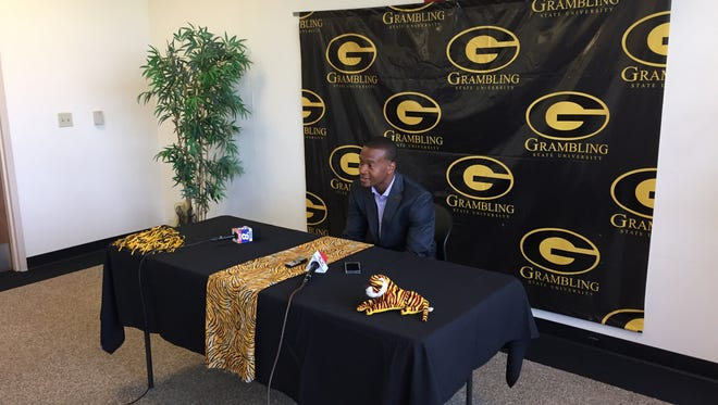 Quentin Burrell, a defensive assistant for Grambling and the great grandson of legendary coach Eddie Robinson, speaks to the media Monday.