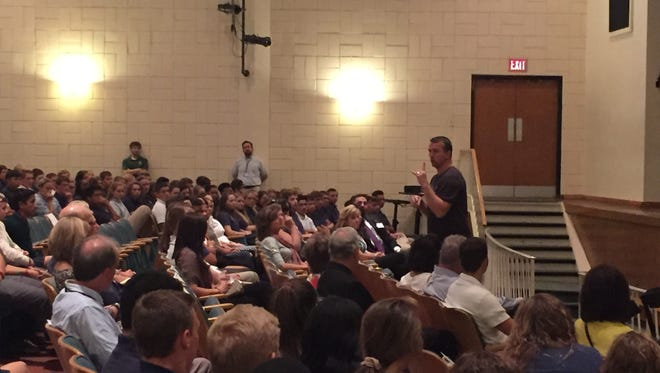 Chris Herren, a former NBA player, spoke at York Catholic High School on Thursday about his past issue with substance abuse.