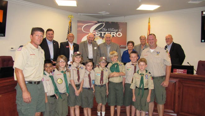Cub Scout Pack 30 attended Estero's village council meeting on Wednesday to watch local government in action.
