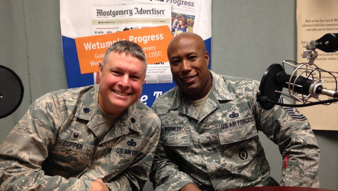 Lt. Col. Brian Copper, left and Chief Master Sgt. Earl Wormley are heads of security at Maxwell.