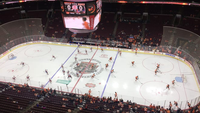 The Flyers and New York Islanders take the ice before the first preseason game at Wells Fargo Center this season.