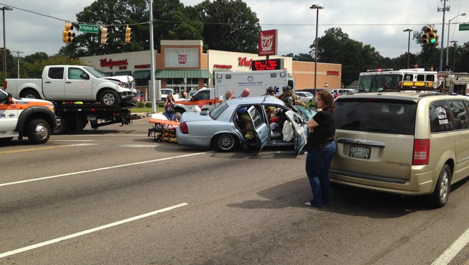 EMS, firefighters and police responded to an accident at Campbell Street and North Highland Avenue about noon today.