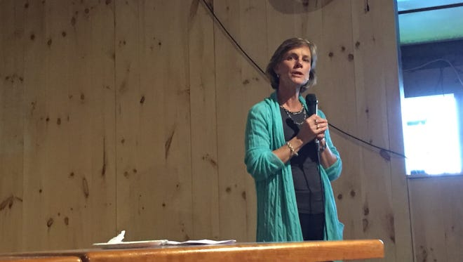 Sue Minter, the Democratic candidate for governor, speaks at a Chittenden County Democratic event on Tuesday, Oct. 4, 2016, in South Burlington.