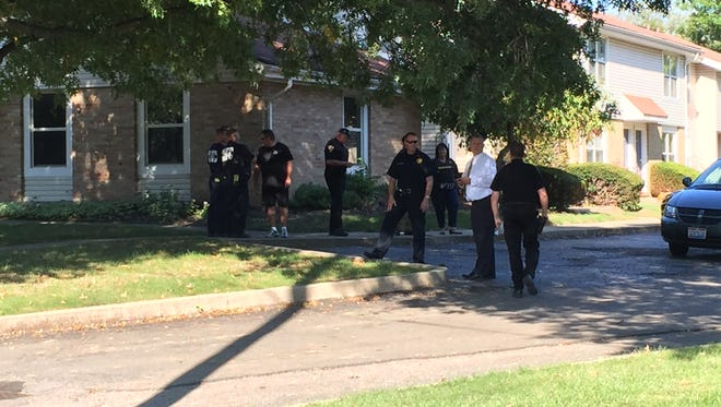 Newark police and the Columbus Bomb Squad are investigating suspicious materials found at the home of a rape suspect on Wednesday afternoon.