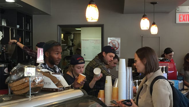 LOMA Coffee was Gilmore Girls-themed on Wednesday to promote the show's revival. Baristas gave out free coffee in branded cups.