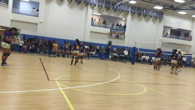 The GW Geckos play the Harvest Eagles in IIAAG girls varsity volleyball action Friday at the Harvest gym.