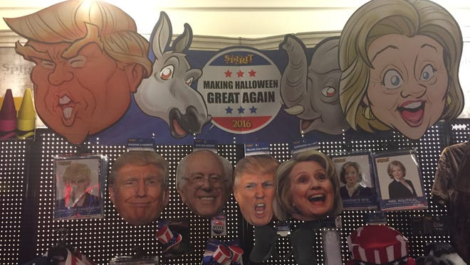 A display at Spirit Halloween featuring the presidential candidates.