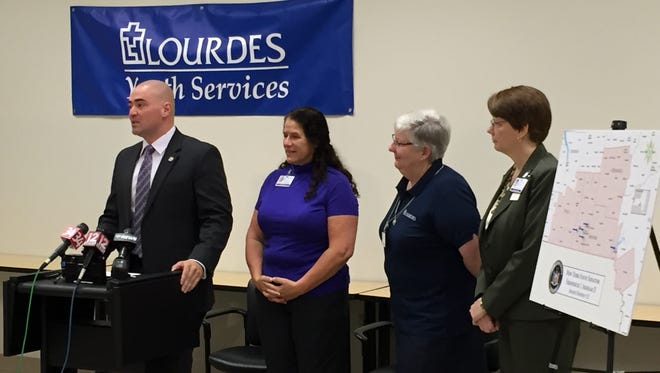 State Sen. Fred Akshar announces that $175,000 in state funding has been obtained for addiction prevention counseling services for local schools. He is joined by, from left, Jill Alford-Hammit; Sister Ellen Reilly, chief mission officer for Lourdes; and Susan Bretscher, director of community outreach and mission integration for Lourdes.