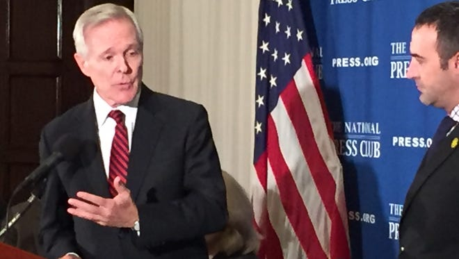 Navy Secretary Ray Mabus answers questions at a luncheon Wednesday at the National Press Club. Mabus said shipbuilding was a priority under his tenure.