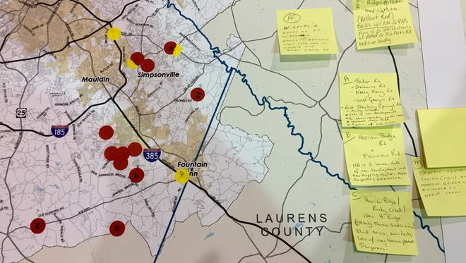Visitors to the GPATS Horizon 2040 meeting in Fountain Inn listed specific traffic concerns on a map.