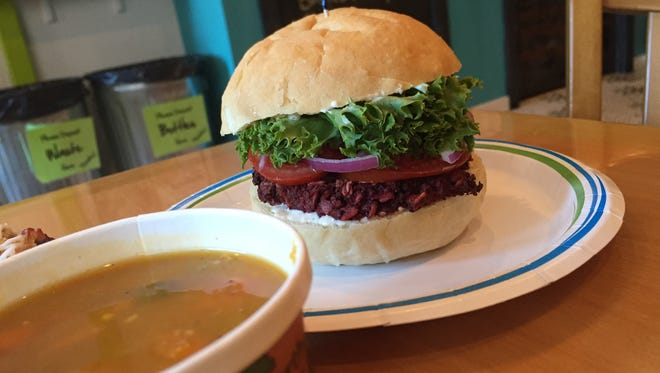 Chroma Cafe and Bakery's Restaurant Week menu includes a beet burger, Thai sweet potato soup and cranberry apple cobber bar.