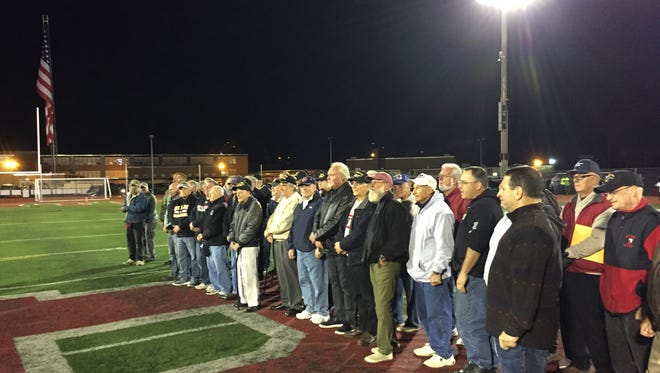 Boonton High School military veterans are honored during halftime of a football game at Boonton High School. Oct. 14, 2016