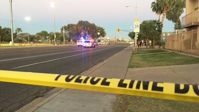 Phoenix police respond to reports of three pedestrians hit by a vehicle Oct. 15, 2016.