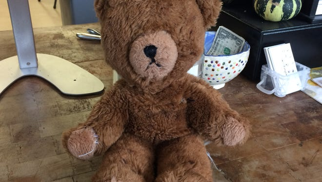This teddy bear was found in Baileys Harbor Sunday afternoon.