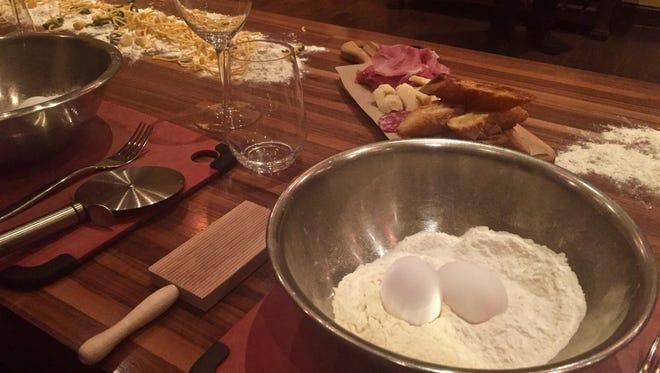 A pasta maker's setup.