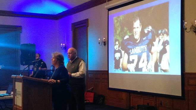 Hal and Teresa Freeman welcome guests to the second Freeman Nursing Scholarship Fundraiser event at University of Memphis Lambuth.