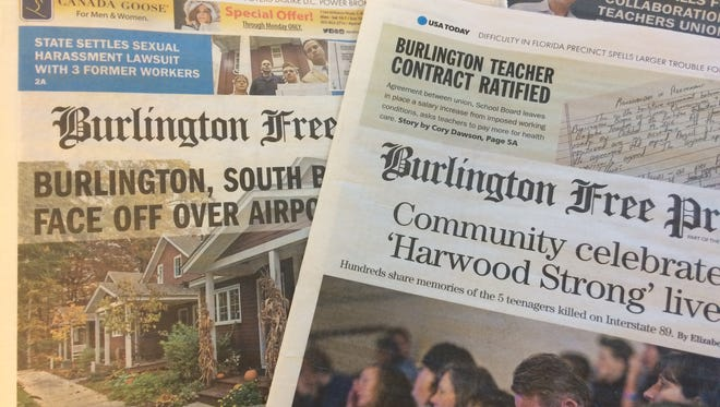 Recent copies of the Burlington Free Press