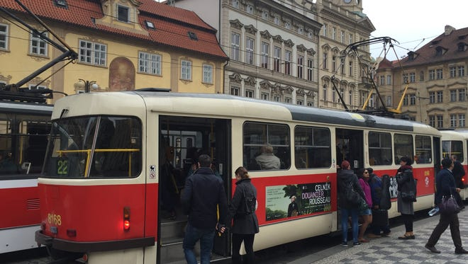 The central European city of Prague, Czech Republic, is well served by an extensive network of subways, trams, and buses -- unlike Detroit with its relative lack of public transit options. October 2016 photo by John Gallagher