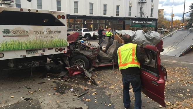 The driver of a pickup truck was seriously injured early Tuesday when he crashed into a tree trimming truck in Old Town Fort Collins.