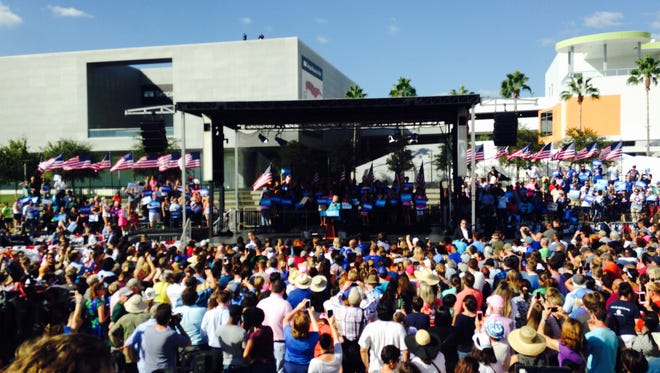 Hillary Clinton, on her 69th birthday, rallies a crowd of her supporters in Tampa.