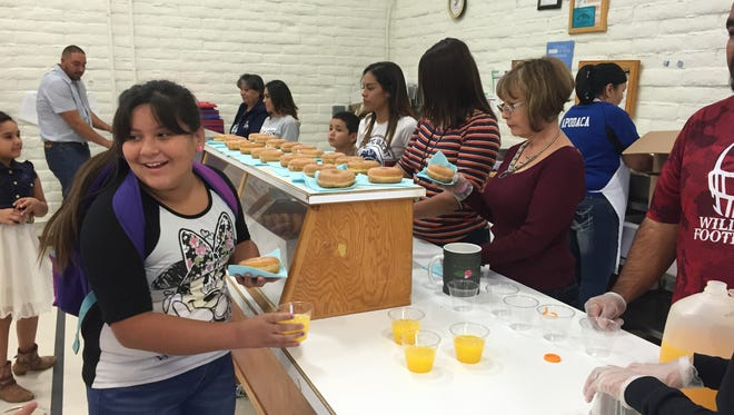 Bell Elementary School held its annual Doughnuts for Dads day on Friday Oct. 21, 2016. Students and their fathers, or family members, enjoyed a variety of doughnuts with orange juice and coffee from 7:30 a.m. to 8:30 a.m. The program was well attended and rivaled the school's Muffins for Moms day.