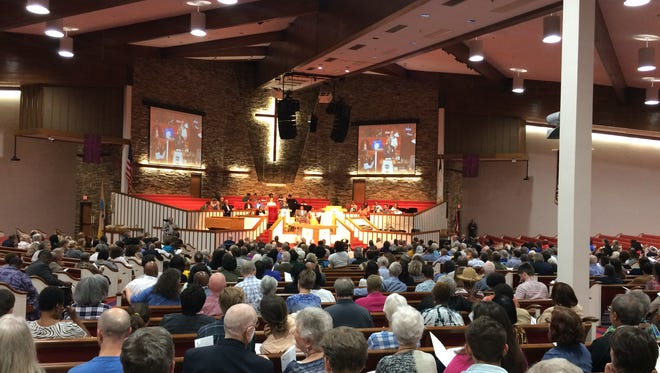 An estimated 1700 people gathered to hear Mayor Megan Barry address the concerns of NOAH at The Temple Church on Sunday, October 30, 2016.