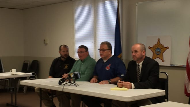 Richland County Sheriff's Capt. Jim Sweat, Maj. Joe Masi, coroner's investigator Bob Ball and Assistant Prosecutor Brandon Pigg discuss the identification of remains during a press conference Tuesday morning.