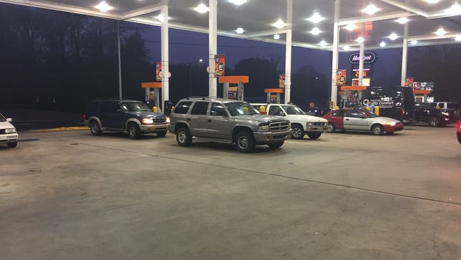 Several motorists were filling up their tanks Nov. 2 at the Hot Spot on New Leicester Highway. A pipeline explosion in northern Alabama on Monday caused officials to shut down Line 1 of the Colonial Pipeline while repairs are conducted.