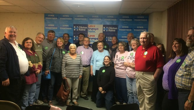 The Warren County Democrats pose for a picture with United States Senate candidate Patty Judge.