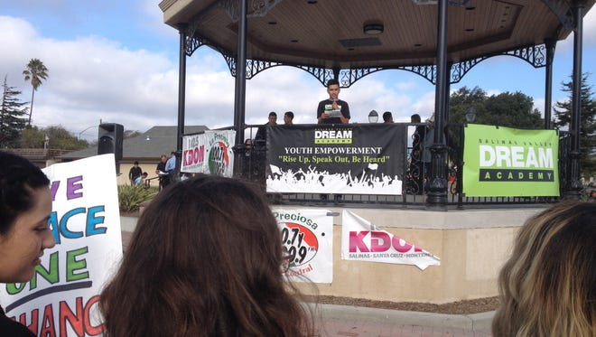 A student speaker addresses the crowd at Saturday's Youth Empowerment March and Rally at Closter Park in Salinas