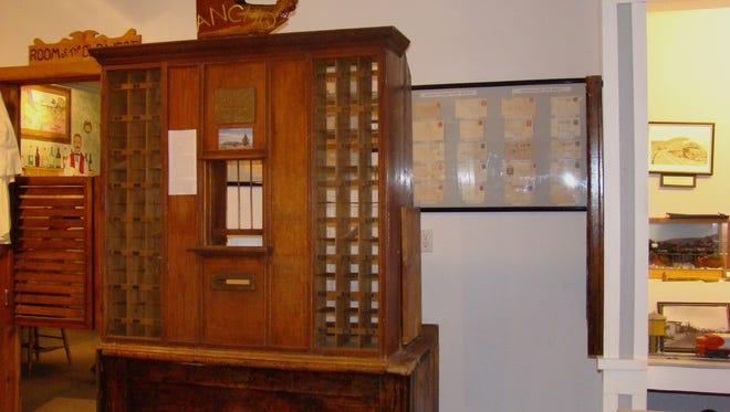 The Ancho post office fixture pictured is among exhibits at Carrizozo Heritage Museum. CHM, open early March through early November, covers in its displays railroads, ranching, mining, historical families and old historic sites.