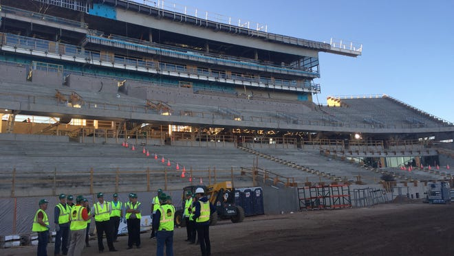 FORTitude 10K participants will run into CSU's new on-campus stadium, shown here during construction Nov. 3.