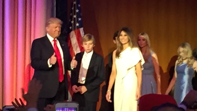 The Trump family takes the stage after Donald Trump's presidential win is announced.